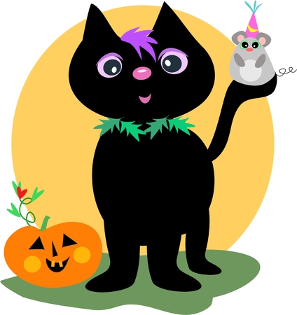 Happy Halloween Black Cat and Mouse Vector