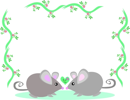 Frame of Two Loving Mice