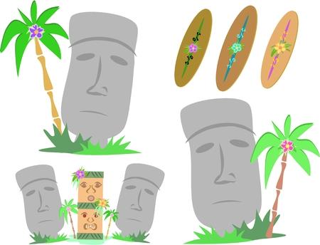 easter island: Easter Island Moai Statues Illustration