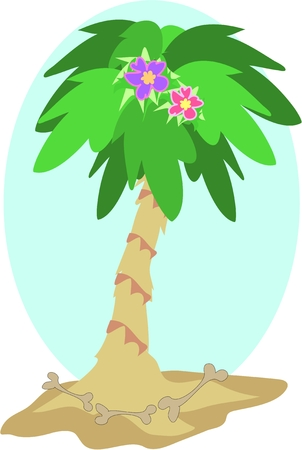Palm Tree with Flowers and Bones