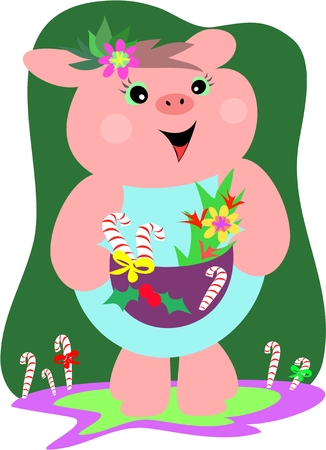 Christmas Pig with Gift Basket Vector