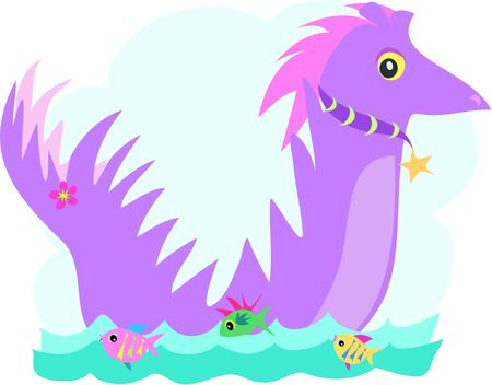 Purple Dragon with Fish Friends Vector