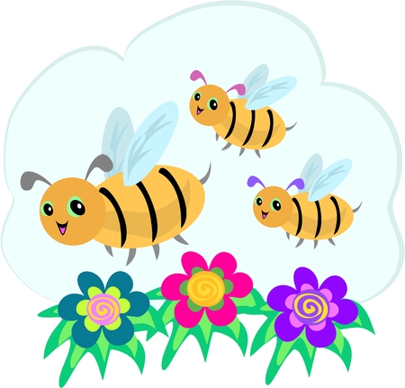 Three Bees and Three Spiral Flowers Stock Illustratie