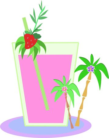 Tropical Drink with Strawberry and Palm Trees