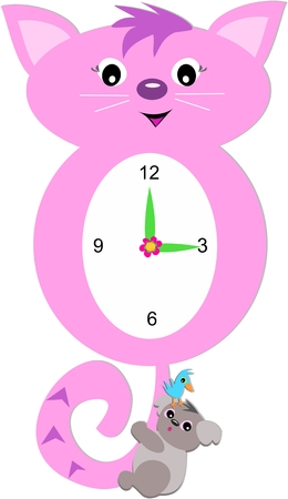 numbers clipart: Cat Clock