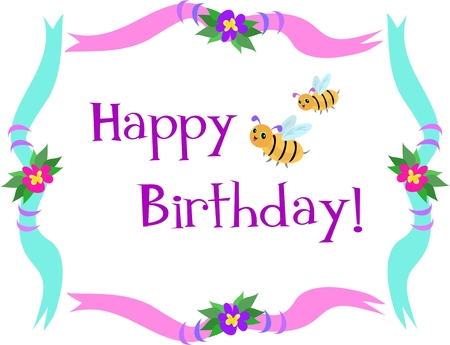 Frame with Happy Birthday Bees Illustration