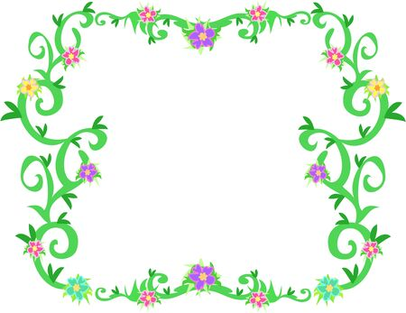 Frame of Tropical Vines and Flowers Illustration