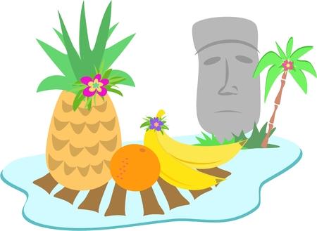 moai: Easter Island Moai Statue and Fruits Illustration