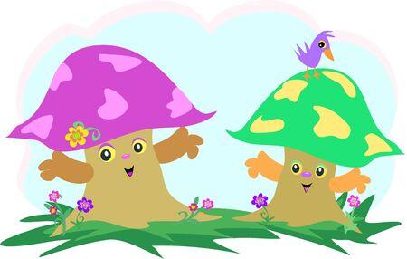 Mushroom Friends and Bird Illustration