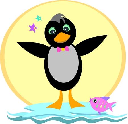 Pinguïn op een ijsberg Stock Illustratie