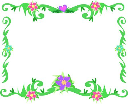 Frame of Tropical Borders and Flowers