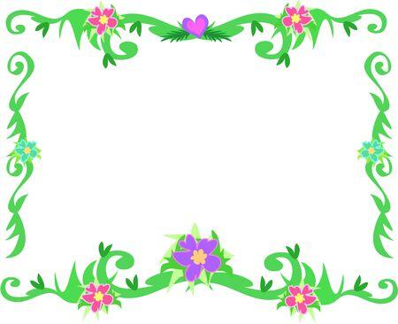 Frame van tropische randen en bloemen