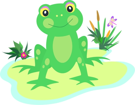 cattail: Frog with Spots on a Pod Illustration