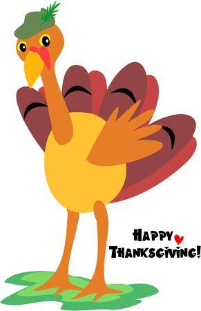 turkey thanksgiving: Feliz de acci�n de gracias Turqu�a, con Green Hat  Vectores
