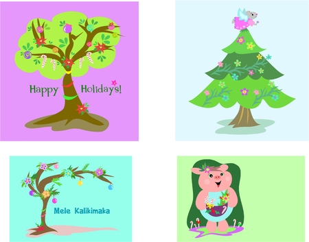 Four Christmas Tags Stock Vector - 6222869