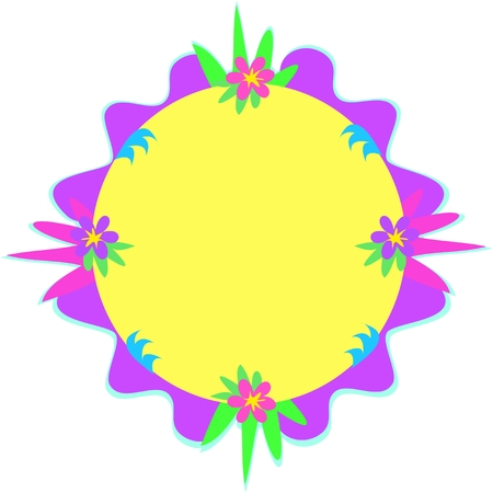 Circular Frame of Colorful Designs Illustration