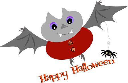 halloween spider: Happy Halloween Bat and Spider