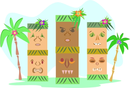 Three Tropical Tiki Totems Vector