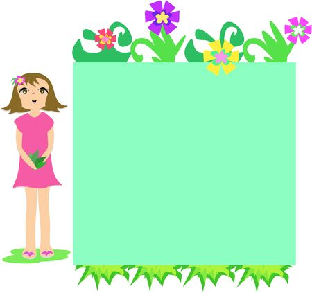Frame Box of Flowers and Girl Illustration