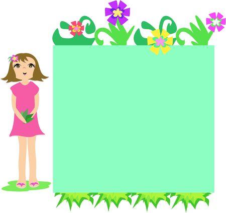 frame  box: Frame Box of Flowers and Girl Illustration