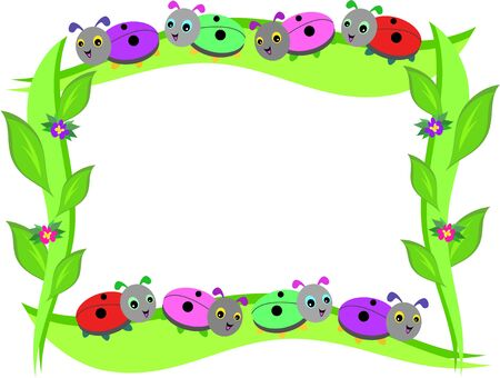 Frame of Ladybugs and Leaves Vector