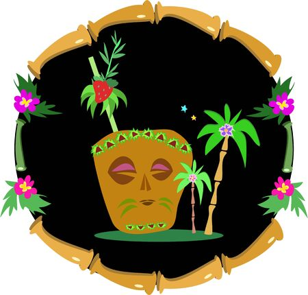 Bamboo Frame with Tiki Drink Illustration