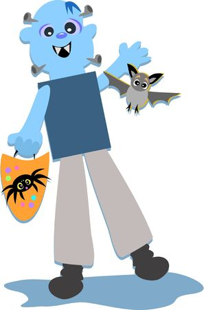 festive occasions: Halloween Monster with Bat and Spider Bag Illustration