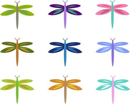 Mix of Colorful Dragonflies Ilustração