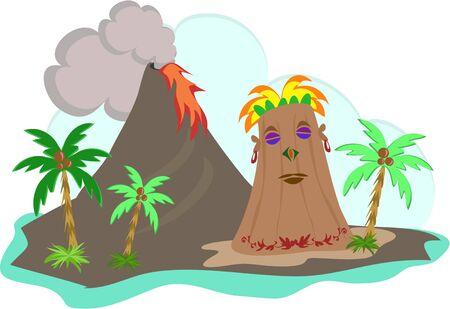 lav: Tiki Island with Lava Flow Çizim