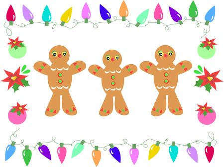 festive occasions: Frame of Gingerbreads, Christmas Lights, Bulbs and Flowers Illustration