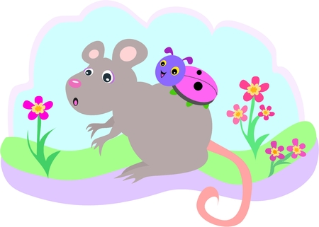 Surprised Mouse with a Ladybug Hitchhiker Vector