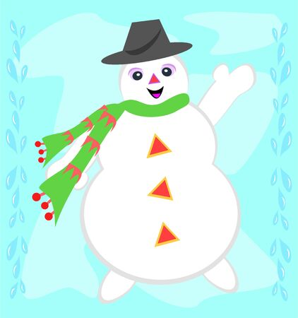 Happy Snowman with a Scarf