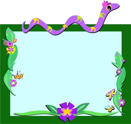 Frame of Snake, Retro Flowers, and Bugs Ilustração