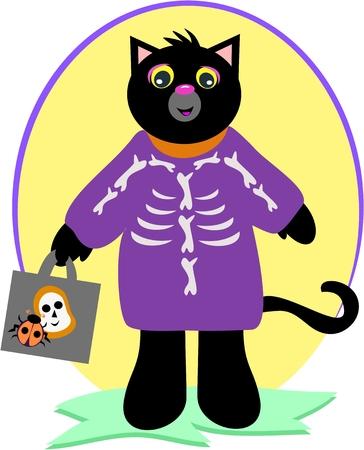 Halloween Black Cat with Skeleton Costume 向量圖像