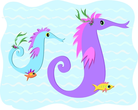 Cute Stylized Seahorses and Fish in the Sea Stock Vector - 6737741