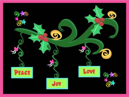 Christmas Decorations with Peace, Love, and Joy Stock Vector - 6742066