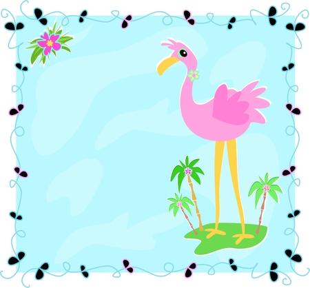 Leaf Frame with Flamingo on an Island Vector