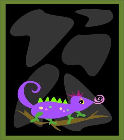 chameleon lizard: Cornice con rocce nere e Lizard Chameleon