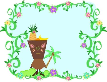 Frame of Tropical Plants, Tiki and Fruit Hat Illusztráció