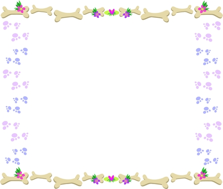animal border: Frame of Bones, Paw Prints, Flowers and Hearts Illustration