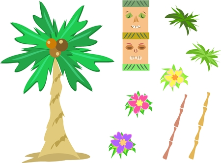 Mix of Tropical Images Vector