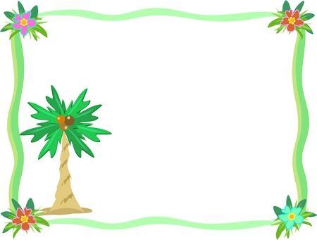 Frame of Palm Tree and Hibiscus Flower