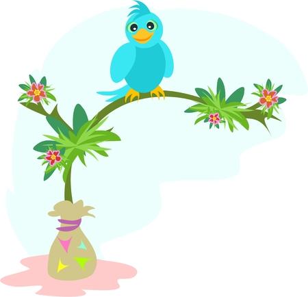 Blue Bird on a Tree Branch Vector