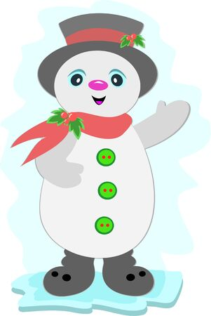 Christmas Snowman with Buttons Ilustracja