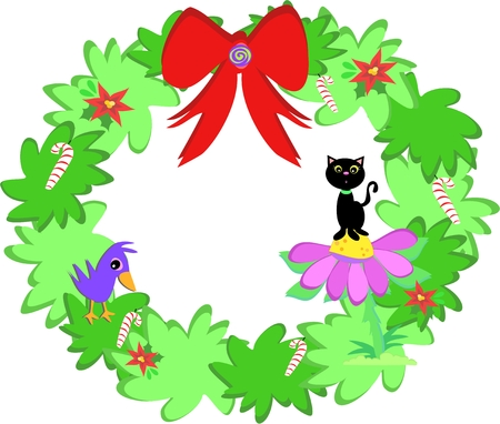 mint leaves: Christmas Wreath with Cat and Bird