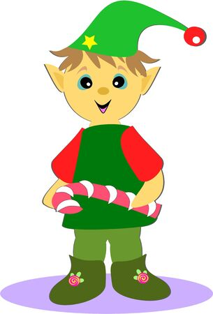 Christmas Elf with Peppermint Stick Vector