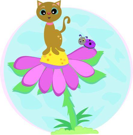 lady bug: Katze auf Blume mit Lady Bug