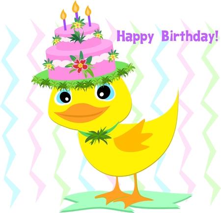 Happy Birthday Hat on a Duck 일러스트