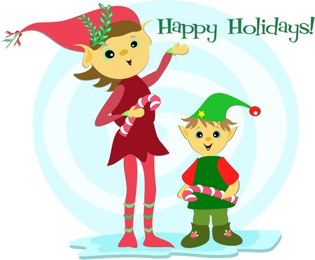 Christmas Elves with a Happy Holiday Greeting Vector