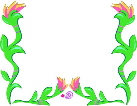 Frame of Torch Flowers and Spiral Heart